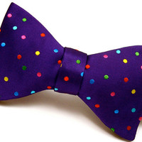Multicolor Polka Dot Purple Silk Bow Tie - &#x27;Confetti II&#x27;