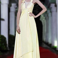 A-line pale yellow brides dress evening bridesmaid dress prom gown | mydresses - Wedding on ArtFire