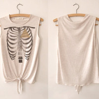 Geometry Of The Heart - Hand Printed Vest - Cream marl, size Small