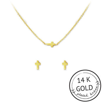 Faith in Fashion Necklace & Earring Set by Kitsch {Gold}