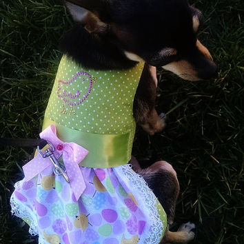 Harness Pink and Green Easter Vest Dog Harness for your Yorkie Chihuahua Pomeranian Maltese Dachshund Teacup Puppy Fur baby