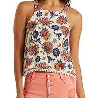 Pom-Pom Trim Paisley Tank Top by Charlotte Russe - Ivory Combo