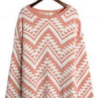 Aztec Triangle Pattern Jumper in Peach/White - Retro, Indie and Unique Fashion