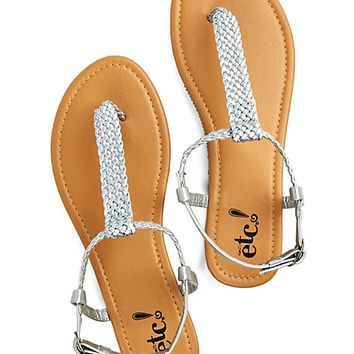 Faux Leather Braided T-Strap Sandal