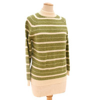 Vintage 60s Sweater Wool Ski Green Ecru Heather Stripe size 40 Large