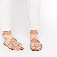 ASOS FREED Cross Strap Embellished Leather Sandals