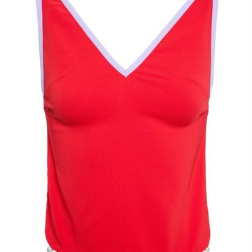 Crepe Tank Top with Pearl Embellishment - ADAM SELMAN