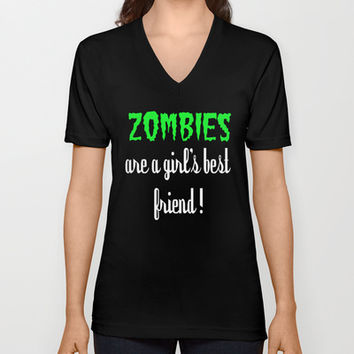 Zombies are a girl's best friend Unisex V-Neck by Simply Wretched