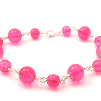 Hot Pink Chain Bracelet Handmade with Silver Wire