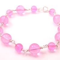 Handmade Chain Bracelet in Soft Pink and Silver Wrapped Wire