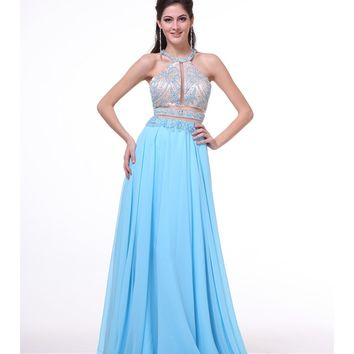 Sky Blue Two Piece Cut Out Halter Dress 2015 Prom Dresses