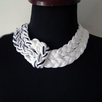 Cotton Thread Choker, Braided Necklace, Cotton Yarn Jewelry, Black and White, Bib Necklace, Eco Necklace, Large Necklace, Unique Jewelry