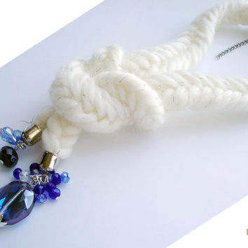 White Braided Winter Necklace, Women Accessorizes, Unique Handmade Accessorize, Special Gift Ideas, Big Crystals Pendant, Big Blue Crystals