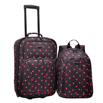 U.S. Traveler 2-Piece Carry-On Rolling Upright & Backpack Luggage Set