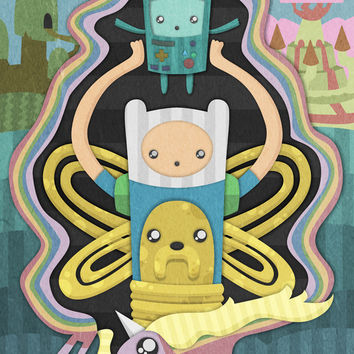 Time for Adventure with Finn, Jake, BMO, and Lady Rainicorn Art Print by MattBlanksArt