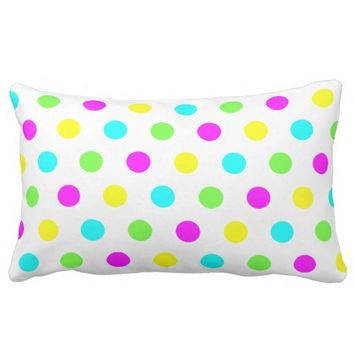 Funny Colorful Polka Dots - Cotton Pillow