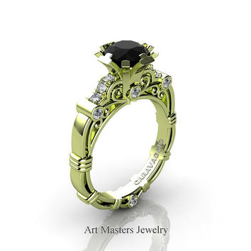 Art Masters Caravaggio 18K Green Gold 1.0 Ct Black and White Diamond Engagement Ring R623-18KGGDBD