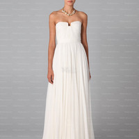 A-line Strapless White Ruffles Chiffon Floor-length Prom Dress at Millybridal.com