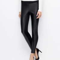Petite Faux Leather Ponte Leggings
