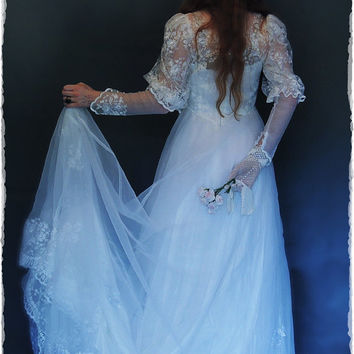 Dreamy vintage chiffon lace pearl bead wedding gown with train / Flowing fairytale bridal dress / Romantic princess