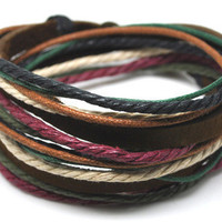 Hand-woven ethnic leather hemp bracelet BC32