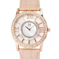 River Island Diamante Leather Watch at asos.com