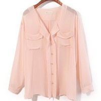 Pink Chiffon Blouse with Twin Patch Pockets