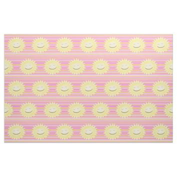 Smiley Sun With Girly Stripes Fabric
