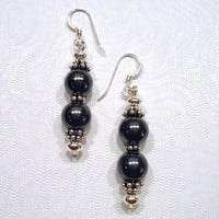 Hematite Earrings, Hematite Beaded Earrings, Hematite Stone, Gray Earrings