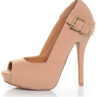 Qupid Heigl 04 Nude Nubuck Belted Peep Toe Pumps $36.00