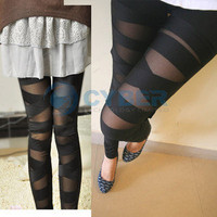 New Womens Ladies Sexy Slit Torn Ripped Slas​hed Color Leggings Tight Pant