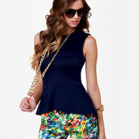 Cute Indigo Blue Top - Peplum Top - Sleeveless Top - $29.00