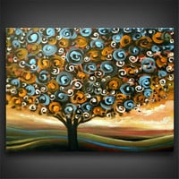 art original painting abstract swirl tree painting fun large landscape abstract 22 x 28