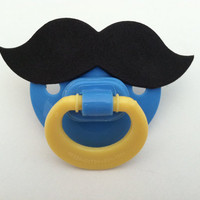 MUSTACHE PACIFIER (blue &amp; yellow)