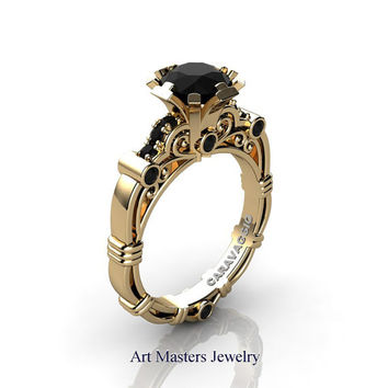 Art Masters Caravaggio 18K Yellow Gold 1.0 Ct Black Diamond Engagement Ring R623-18KYGBD