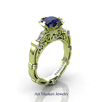 Art Masters Caravaggio 18K Green Gold 1.0 Ct Blue Sapphire Diamond Engagement Ring R623-18KGGDBS