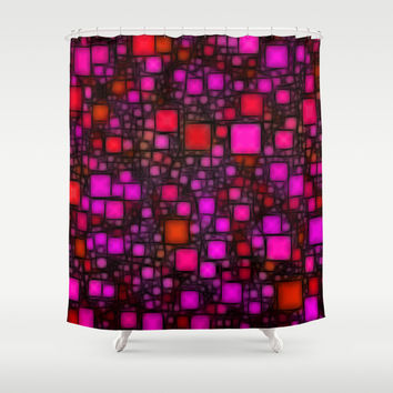 Post It Pink Glow Shower Curtain by Alice Gosling