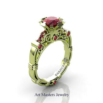 Art Masters Caravaggio 18K Green Gold 1.0 Ct Rubies Engagement Ring R623-18KGGR