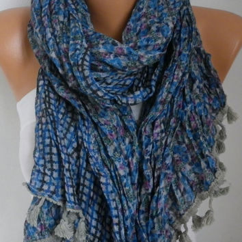 Spring Celebration Fashion Blue Floral Scarf Mother's Gift Passover Cotton Cowl Scarf Gift Ideas For Women Fashion Accessories Women Scarves