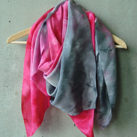 Magenta Pink to Grey Scarf - hand dye-painted