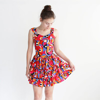 Bright mini dress - 90s - cotton - layered - party dress - x small, small