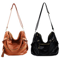 Korean Hobo PU Tassel Leather Handbag Cross Body Shoulder Bag Large Capacity Z