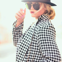 Black White Houndstooth Rhinestone Blazer Jacket - DGF