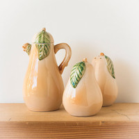 Vintage Ceramic Pears, Salt and Pepper Shakers, Creamer, Condiment Set Four Piece Set
