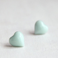 Little Mint Green Heart Candy Stud Earrings. Surgical Steel Earrings Post. Soft Pastel Green. Petite Earrings. Gift for Her