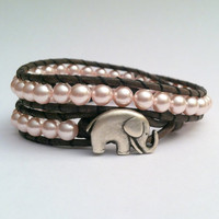 Elephant Leather Wrap Bracelet, Pink  and Gray Wrap, Chan Luu Style