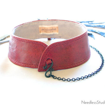 leather choker collar - woman's deep red chain collar - mandarin style - detached collar - leather bdsm - ready made by Needless Studio