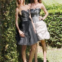 Mini short black tulle strapless Bridesmaid Dresses WDBD088