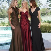 A-line chocolate/black straps long Bridesmaid Dresses WDBD087