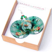 Hummingbird Earrings jade green dangle Romantic  Round decoupage earrings Bird motif diameter 4cm (1,57 inch) ,  gift for her under 25